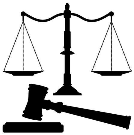 balanza en equilibrio: escalas de vectores de la justicia y el martillo Vectores