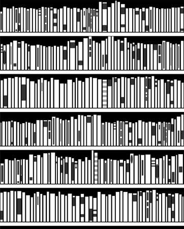 bookshelves: vector abstract illustration of black and white modern bookshelf