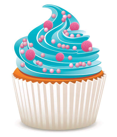 Vektor blaue Kuchen mit Streuseln
