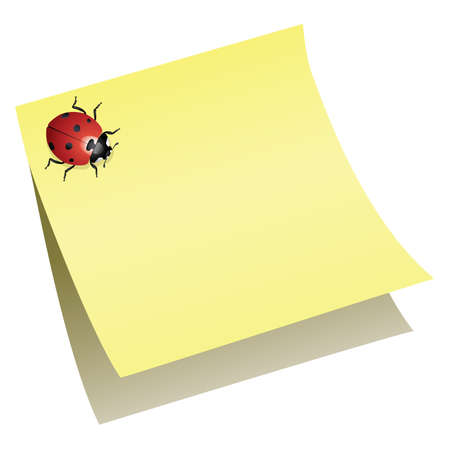 sticky note: vector ladybird on paper note