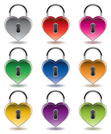 vector design of colorful metal padlocks  Vector