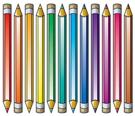 vector colorful pencils clipart set Stock Vector - 11995774