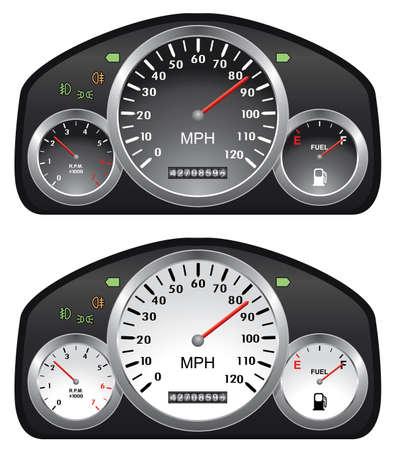 tacometro: tableros de control de vectores de coches con medidores de tac�metro, veloc�metro y la gasolina Vectores