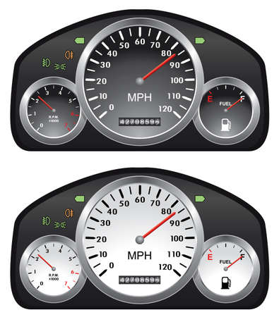 gas gauge: vector car dashboards with tachometer, speedometer and gasoline gauges