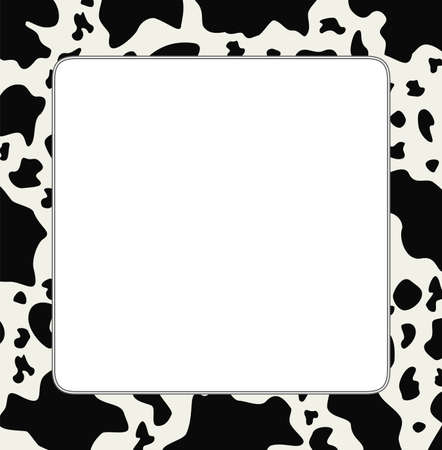 farm structures: vector frame with abstract cow skin texture and copy-space