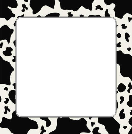 vaca: Vector marco con textura de piel de vaca y abstracto espacio de la copia-