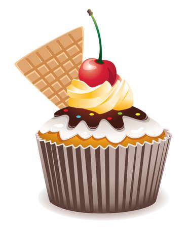 Vektor Kleiner Kuchen mit Kirsche und Waffel