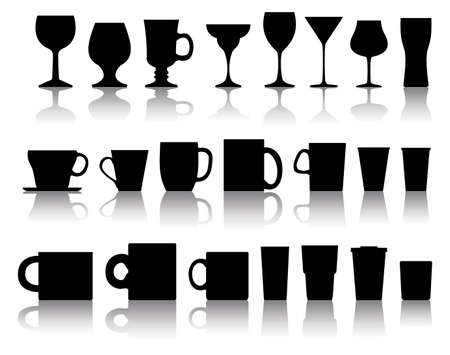 vector set of cups, mugs, wineglasses