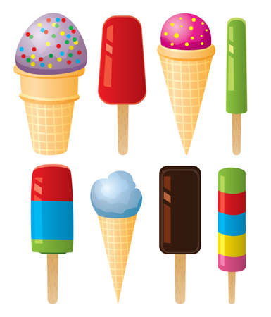 summer diet: vector clipart of colorful icecream and popsicles  Illustration
