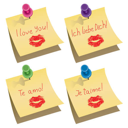 vector yellow paper notes with push pin and I love you words in english, german, spanish and french  Stock Vector - 12155580