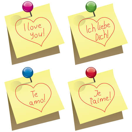 vector yellow paper notes with push pin and I love you words in english, german, spanish and french Stock Vector - 12155572