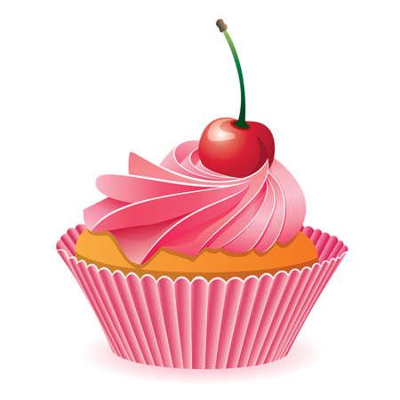 cup cakes: vector de color rosa Cupcake con una cereza roja