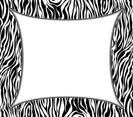 animal print: Telaio vettore con texture astratta pelle di zebra e copia-space Vettoriali