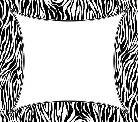 animal print: Vector marco con textura de piel de cebra abstracta y espacio de la copia-