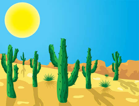 sand drawing: vector cactus in desert clipart