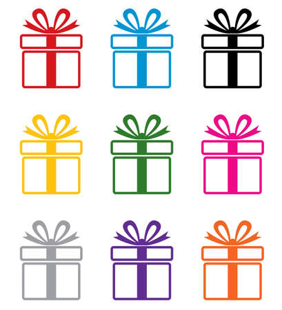 package icon: vector set of colorful gift box symbols
