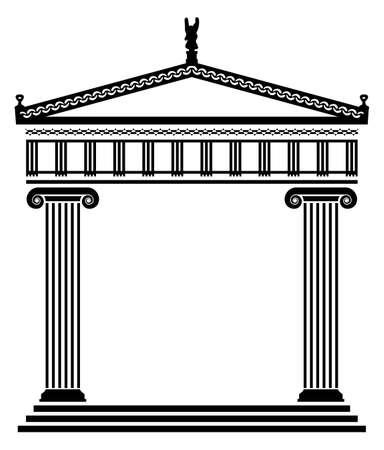 temple grec: vecteur d'architecture grecque antique avec des colonnes