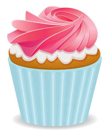 vector pink cupcake  Vector