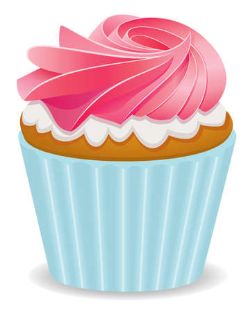 icing: vector pink cupcake