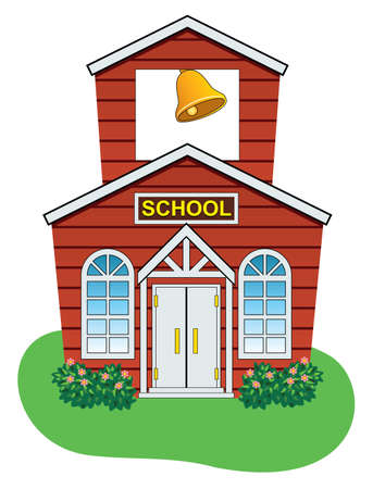 door bell: vector illustration of country school house