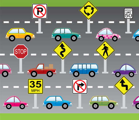 vector illustration of cars and road signs