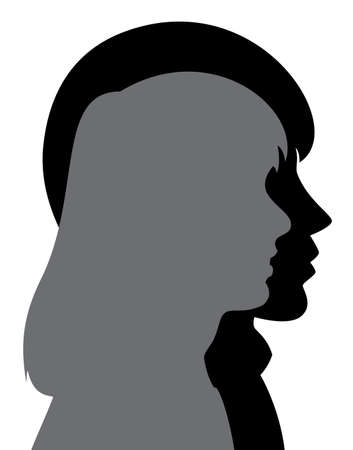 male face profile: vector profile silhouette of young man and woman
