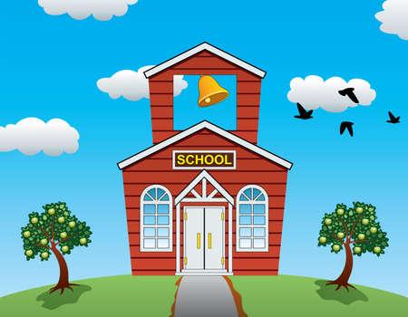illustration vectorielle de pays maison d'école, les pommiers, les nuages ??et les oiseaux qui volent