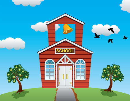 yellow house: vector illustration of country school house, apple trees, clouds and flying birds