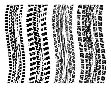 vettore serie di stampe grungy pneumatici Vettoriali