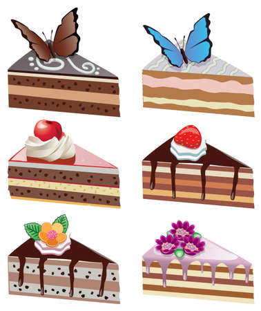 vector cake slices with fruits, chocolate, butterflies and flowers Illustration