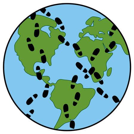 land mark: vector de concepto de la huella global de la tierra