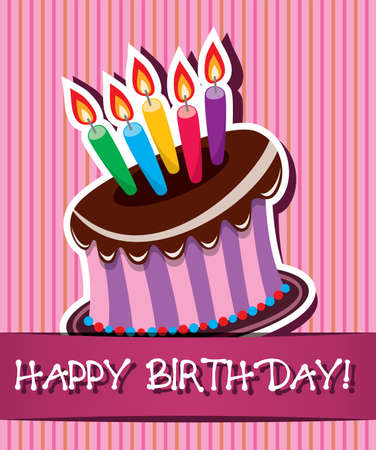 pink cake: vector birthday card with chocolate cake and burning candles
