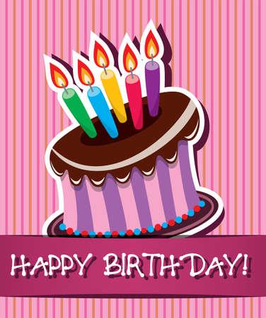 pasteles de cumplea�os: vector de tarjeta de cumplea�os con pastel de chocolate y velas encendidas