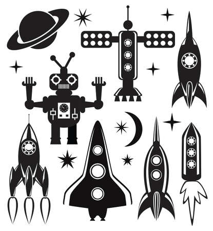 cartoon rocket: vector design set of stylized space symbols  Illustration