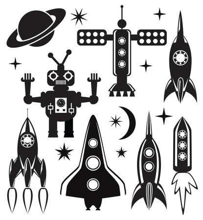 raumschiff: Vektor-Design-Set von stilisierten Raum Symbole