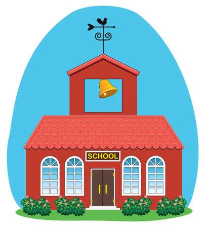 school house: ilustraci�n vectorial de la casa de campo de la escuela