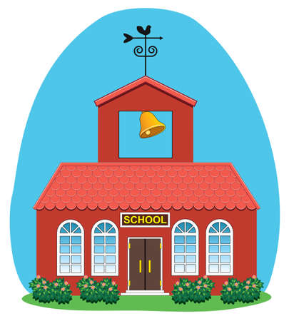 old school: vector illustration of country school house