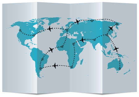 north america map: vector paper map with airplane flight paths Illustration