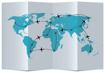 Atlas: Vektor-Papier-Karte mit dem Flugzeug Flugbahnen