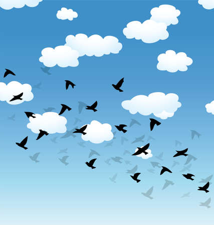 vector flock of flying birds and clouds in the sky Vector