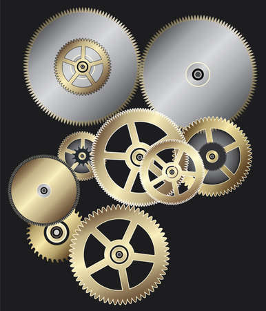 part time: vector background of clock gears
