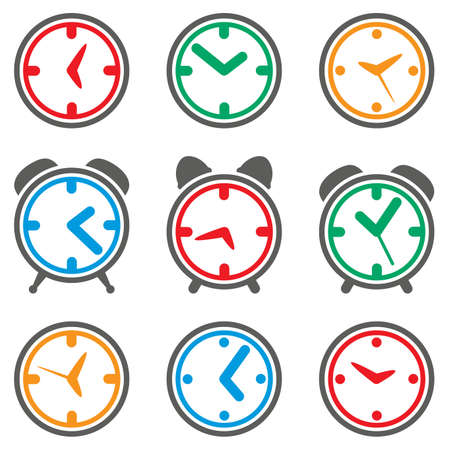 vector design of colorful clock symbols  Illusztráció