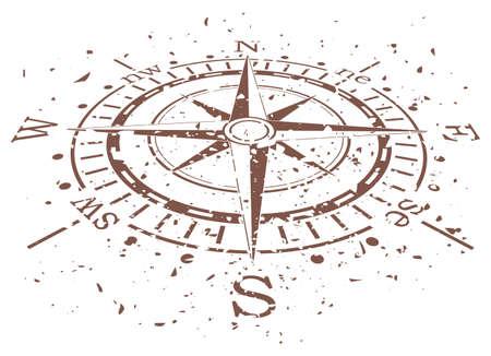 rosa dei venti: disegno vettoriale di grunge bussola