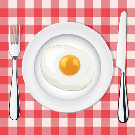 vector picnic illustration of fried egg on a plate whith fork and knife  Illusztráció