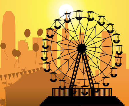 amusement: vector silhouettes of a city and amusement park with circus and ferris wheel