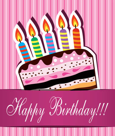 tarjeta amarilla: vector de tarjeta de cumplea�os con pastel de chocolate y velas encendidas