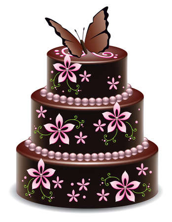 vector design of a big delicious chocolate cake with flowers and butterfly Vector
