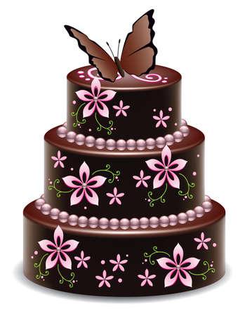 wektora projektu wielkiego tortu pysznego czekoladowego z kwiatami i motyl Ilustracje wektorowe