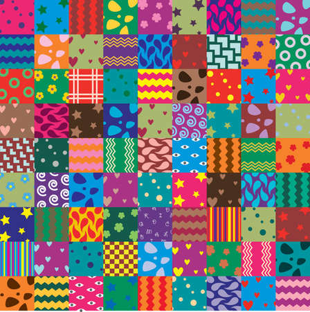 handicrafts: vector patchwork fabric art background