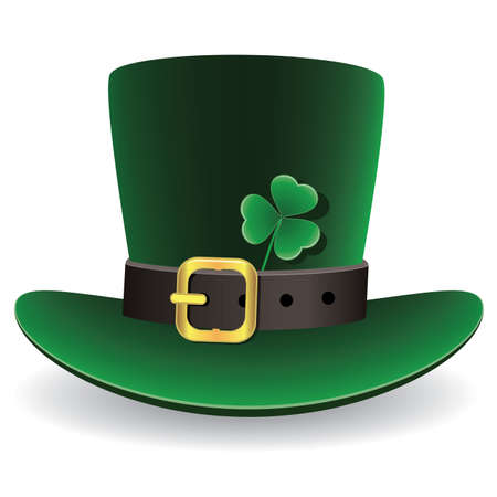 st patrick's day: vector illustration of green St. Patricks Day hat with clover